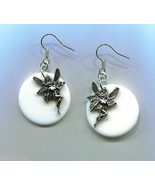 fairy dangle earrings white circle fantasy handmade silver fairies jewelry - $5.50