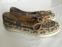 Sperry Top Sider Boat Shoes Women's US 4.5M Bahama Two Eye Greige Leopard Sequin - $9.89