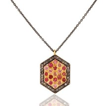 Pink Tourmaline Gemstone Pendant, 925 Silver Pave Diamond Jewelry Chain ... - $66.33