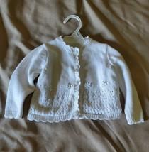 Girls Sophia Rose White Sweater Cardigan Size 12 Months EUC - $9.99