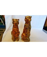 """Ceramic Pair of Leopard Figurines, With Decoupage Finish, 8.5"""" & 7.5"""" Tall - $35.64"""