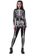 Halloween Cosplay Costumes For Women Skeleton 3D Print Skinny Fit Jumpsu... - $28.48