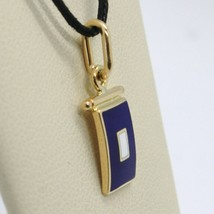 18K YELLOW GOLD NAUTICAL GLAZED FLAG LETTER P PENDANT CHARM MEDAL ENAMEL ITALY image 2