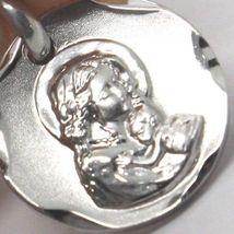 Anhänger Medaille Weißgold 18K, Vergine Maria und Jesus, Kreis, satin image 6