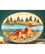 "Moose Plate Serving Wild Animal Woodland Theme Decorative 15"" x 12"" New  - $39.59"
