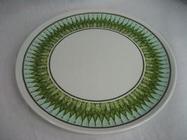 Vintage Lenotex Melamine Dinner Plate Green White and Gold Pattern - $3.91