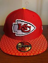 New Era 59Fifty Hat Kansas City Chiefs NFL 2017 On Field Sideline Fitted Hat!! image 7