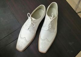 Handmade Men's White Leather Wing Tip Heart Medallion Dress/Formal Oxford Shoes image 2