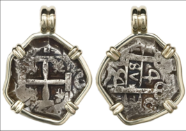 BOLIVIA 1754 4 REALES SHIPWRECK 14KT PENDANT PIRATE GOLD COINS JEWELRY N... - $1,450.00
