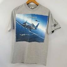 Corsair F4U T Shirt Size L Gray World War 2 Korea Fighter Aircraft Chance Vought - $17.56