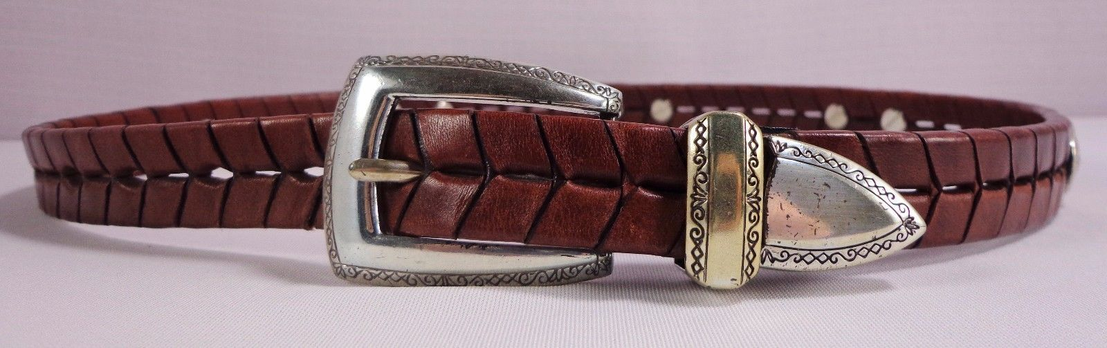 Womens Brown Leather Western Belt Size S Small