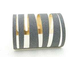 VTG Gold Tone Silver Metallic Glitter Large Abstract Cuff Rock Star Brac... - $19.80