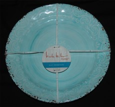 4 Nicole Miller Aqua Distressed Border White Scroll Melamine Luncheon Pl... - $39.99
