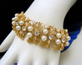 Vintage Sarah Coventry Bracelet Gold Tone Faux Pearl Rhinestones - $58.91