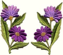 Purple daisies pair flowers floral bouquet boho applique iron-on patch n... - $3.75