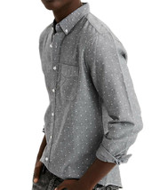 American Eagle Mens 1346020 Printed Oxford Button Down Shirt, Gray, XS, ... - $44.50