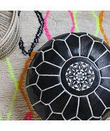 Black Leather Pouf, White Embroidery – Handmade in Morocco *READY TO SHIP* - $135.00