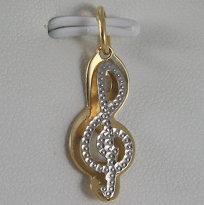 SOLID 18K WHITE & YELLOW GOLD TREBLE CLEF PENDANT CHARM, PENTAGRAM MADE IN ITALY