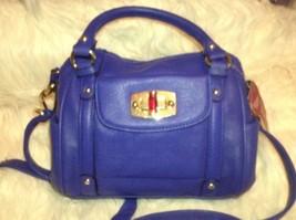 NWT Merona Blue Purse Satchel Faux Leather Small - $28.49