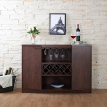 BAR BUFFET TABLE With WINE STORAGE Walnut Brown Wood Sideboard Dining Fu... - $449.95