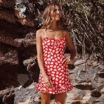 Red And White Floral Casual Summer Beach Sundress image 3