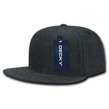 Washed Denim Snapback Hat - Black, Cotton (Decky 1094-BLK, New with Tags) - £6.36 GBP
