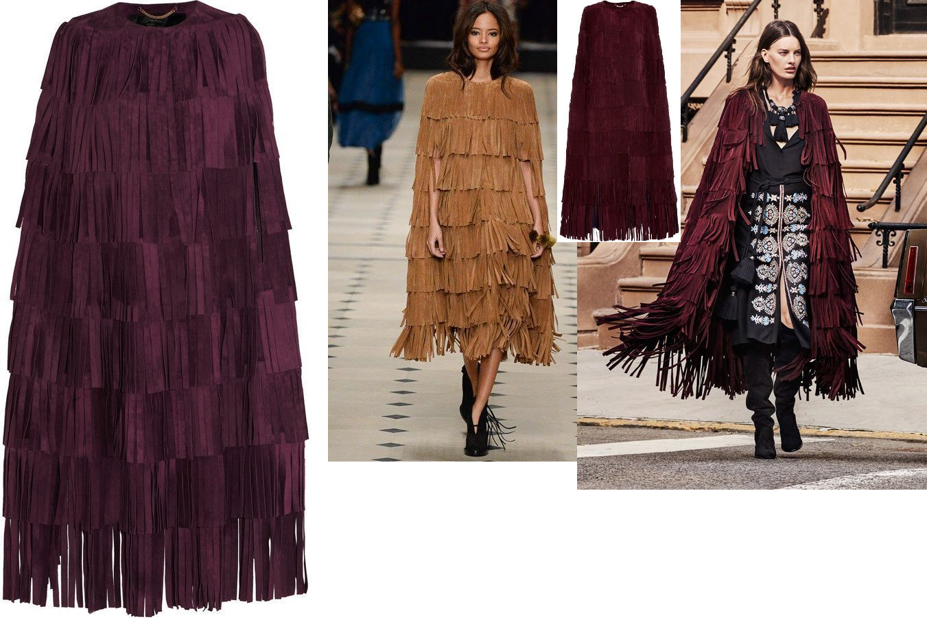 WOMEN'S NEW IN FASHION FRINGES SUEDE LEATHER CAPE PONCHO BOHO HIPPY SHAWL WC132