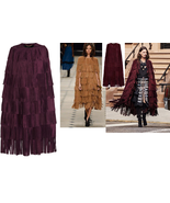 WOMEN'S NEW IN FASHION FRINGES SUEDE LEATHER CAPE PONCHO BOHO HIPPY SHAW... - $395.01+