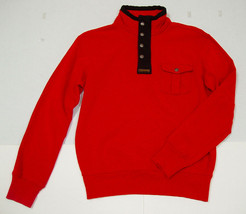 Polo Ralph Lauren Sweater Pullover L Red Mock Neck Solid Cotton 1/2 Zip NWT - $60.96