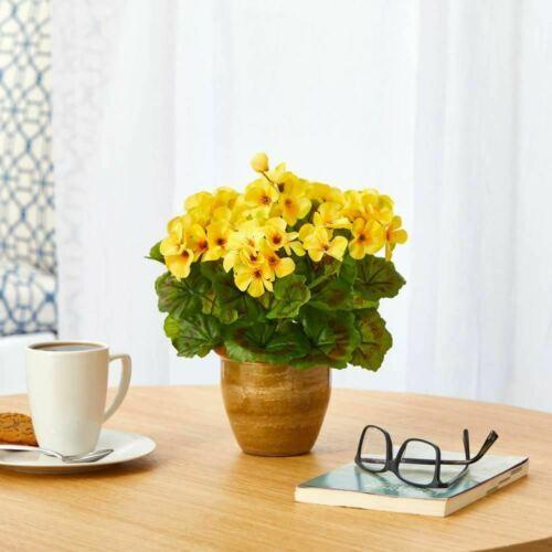 Yellow Geranium Artificial Plant in Ceramic Planter UV Resistant (Indoor/Outdoor - $59.73