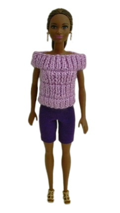 Barbie Doll Clothes Knit Purple Off Shoulder Top and Biker Shorts Handmade