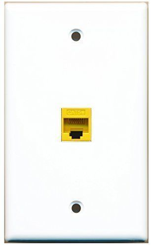 Primary image for RiteAV - 1 Port Cat5e Ethernet Yellow Wall Plate White Flat