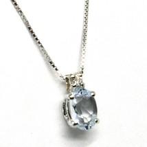 18K WHITE GOLD NECKLACE AQUAMARINE 0.45 OVAL CUT & DIAMOND, PENDANT & CHAIN image 2