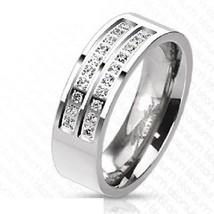 7mm Solid Titanium Band Micro Pave CZ Traditional Wedding Engagement Bri... - $18.74