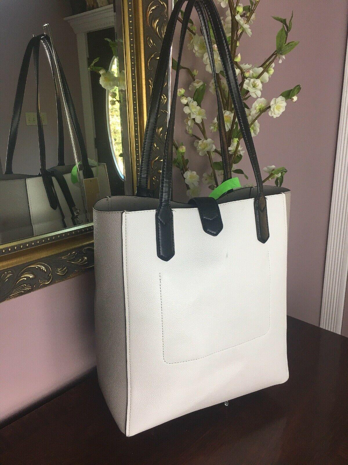 Michael Kors Bag Cassie Tote Medium NS Tote Leather White Gray Black B2R image 2