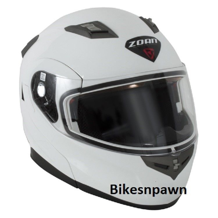 L Zoan Flux 4.1 White Modular Snowmobile Helmet w/ Electric Shield  037-006SN/E