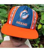Vintage NFL Distressed 1970s Miami Dolphins Mesh Snapback Trucker Hat Ne... - $79.12