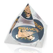 "Retro Clapping Hands Bravo 50's Illustration 3.25"" Crystal Pyramid Paper... - $29.95"