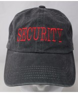 Security Black Cotton Baseball Cap Red Embroidered Letters Adjustable - $18.99