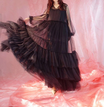 Women Black Maxi Dress Gown Long Sleeve Loose Tiered Tulle Party Dress Plus Size image 2