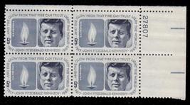 1964 Kennedy Memorial Plate Block of 4 US Postage Stamps Catalog Number 1246 MNH