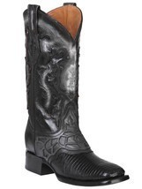 Western Boot Old Mejico Exotic Lizard Teju Black ID 301075 - £214.74 GBP