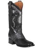 Western Boot Old Mejico Exotic Lizard Teju Black ID 301075 - £228.66 GBP