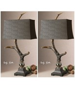 PAIR AGED IVORY FAUX DEER ELK HORN TABLE LAMPS ALUMINUM ACCENTS SUEDE SH... - $611.60