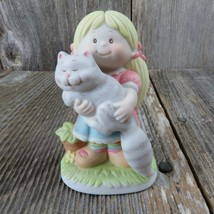 Vintage Girl with Cat Figurine Wallace Berrie So Glad You're My Friend T... - $34.99