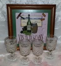 "Vtg Anchor Hocking WEXFORD Claret Wine Glasses- Set 4- 5 3/8"" tall Stemmed-VGUC - $7.95"