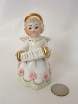 Vintage Lefton Porcelain Angel Figure Spaghetti Hair Concertina Pink Flowers - $9.89