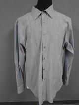 JOSEPH ABBOUD Blue Gray Striped Cotton Button Down Long Sleeve Shirt XL ... - $36.93 CAD
