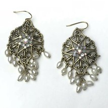 "Vintage Avon SP Fresh Water Pearl Dangle  AB Rhinestone Earrings 2.75"" - $18.66"