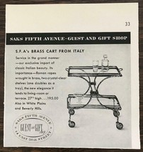 1955 Saks Fifth Avenue Guest and Gift Shop Holiday Time Ad Brass Cart fr... - $8.75